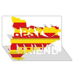 Flag Map Of Catalonia Best Friends 3D Greeting Card (8x4)