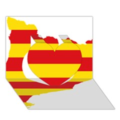 Flag Map Of Catalonia Heart 3D Greeting Card (7x5)