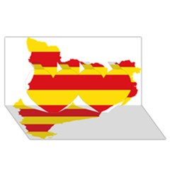 Flag Map Of Catalonia Twin Hearts 3D Greeting Card (8x4)
