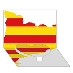Flag Map Of Catalonia Heart Bottom 3D Greeting Card (7x5)
