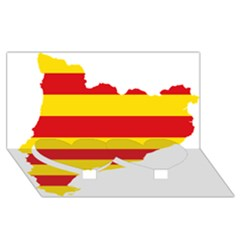 Flag Map Of Catalonia Twin Heart Bottom 3D Greeting Card (8x4)