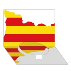 Flag Map Of Catalonia Circle Bottom 3D Greeting Card (7x5)