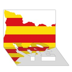 Flag Map Of Catalonia LOVE Bottom 3D Greeting Card (7x5)