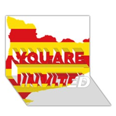 Flag Map Of Catalonia YOU ARE INVITED 3D Greeting Card (7x5)