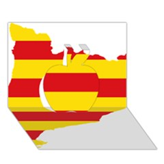 Flag Map Of Catalonia Apple 3D Greeting Card (7x5)