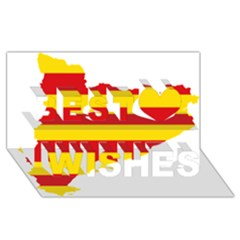 Flag Map Of Catalonia Best Wish 3D Greeting Card (8x4)