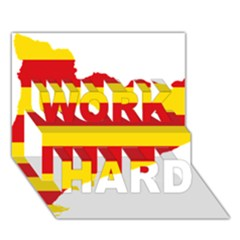 Flag Map Of Catalonia WORK HARD 3D Greeting Card (7x5)
