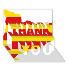 Flag Map Of Catalonia THANK YOU 3D Greeting Card (7x5)