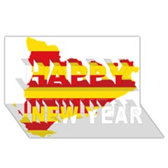 Flag Map Of Catalonia Happy New Year 3D Greeting Card (8x4)