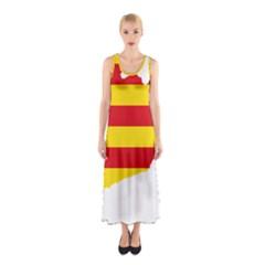 Flag Map Of Catalonia Sleeveless Maxi Dress