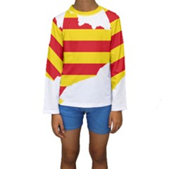 Flag Map Of Catalonia Kid s Long Sleeve Swimwear