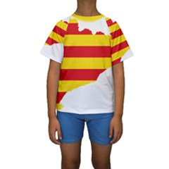 Flag Map Of Catalonia Kid s Short Sleeve Swimwear