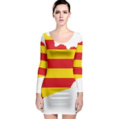 Flag Map Of Catalonia Long Sleeve Bodycon Dress