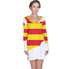 Flag Map Of Catalonia Long Sleeve Nightdress