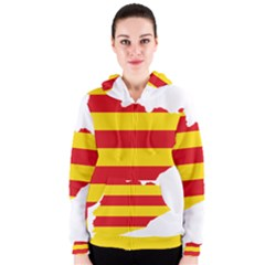 Flag Map Of Catalonia Women s Zipper Hoodie