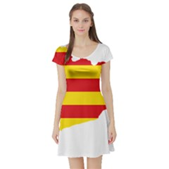 Flag Map Of Catalonia Short Sleeve Skater Dress
