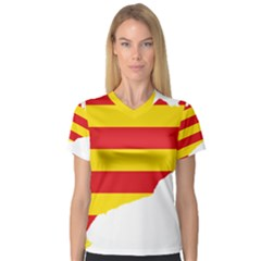 Flag Map Of Catalonia Women s V-Neck Sport Mesh Tee