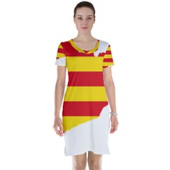 Flag Map Of Catalonia Short Sleeve Nightdress