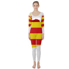 Flag Map Of Catalonia Long Sleeve Catsuit