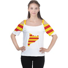 Flag Map Of Catalonia Women s Cutout Shoulder Tee