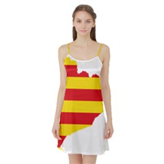 Flag Map Of Catalonia Satin Night Slip