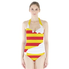 Flag Map Of Catalonia Halter Swimsuit