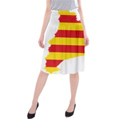 Flag Map Of Catalonia Midi Beach Skirt