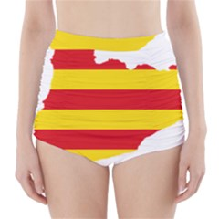 Flag Map Of Catalonia High-Waisted Bikini Bottoms