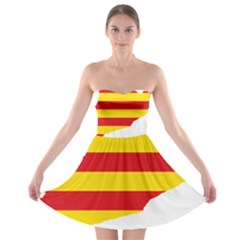 Flag Map Of Catalonia Strapless Dresses