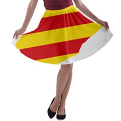 Flag Map Of Catalonia A-line Skater Skirt