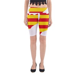 Flag Map Of Catalonia Yoga Cropped Leggings