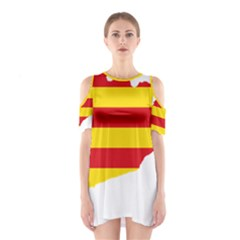 Flag Map Of Catalonia Cutout Shoulder Dress