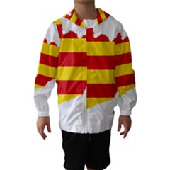 Flag Map Of Catalonia Hooded Wind Breaker (Kids)