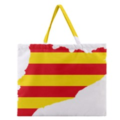 Flag Map Of Catalonia Zipper Large Tote Bag