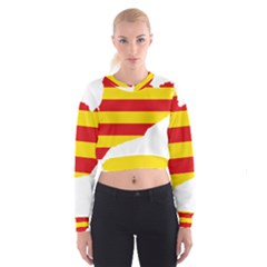 Flag Map Of Catalonia Women s Cropped Sweatshirt