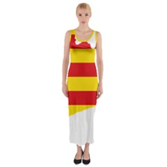 Flag Map Of Catalonia Fitted Maxi Dress