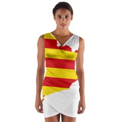 Flag Map Of Catalonia Wrap Front Bodycon Dress