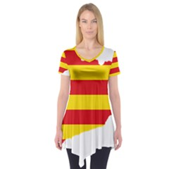 Flag Map Of Catalonia Short Sleeve Tunic