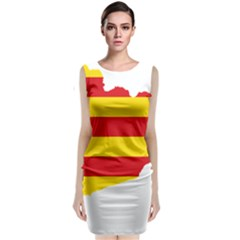 Flag Map Of Catalonia Classic Sleeveless Midi Dress