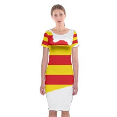 Flag Map Of Catalonia Classic Short Sleeve Midi Dress