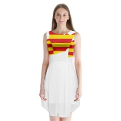 Flag Map Of Catalonia Sleeveless Chiffon Dress