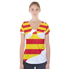 Flag Map Of Catalonia Short Sleeve Front Detail Top