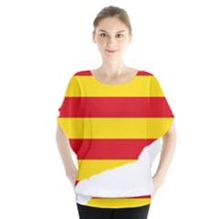 Flag Map Of Catalonia Batwing Chiffon Blouse