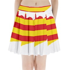 Flag Map Of Catalonia Pleated Mini Mesh Skirt