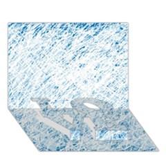 Blue pattern LOVE Bottom 3D Greeting Card (7x5)
