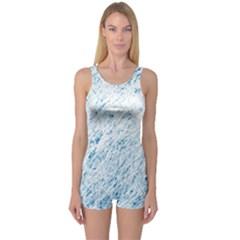 Blue pattern One Piece Boyleg Swimsuit