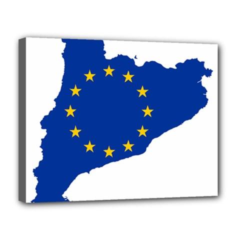 Catalonia European Union Flag Map  Canvas 14  x 11