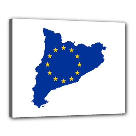 Catalonia European Union Flag Map  Canvas 20  x 16