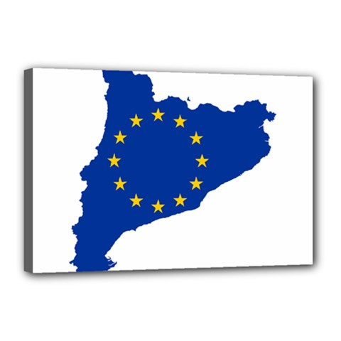 Catalonia European Union Flag Map  Canvas 18  x 12