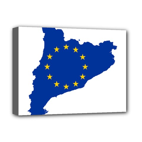 Catalonia European Union Flag Map  Deluxe Canvas 16  x 12